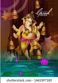 illustration of Lord Ganesh on Ganesh Chaturthi background