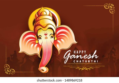 illustration of Lord Ganesha for Ganesh Chaturthi birth of Ganesha poster card banner ganesha face
