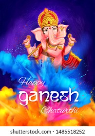 illustration of Lord Ganesha religious background for Ganesh Chaturthi festival of India