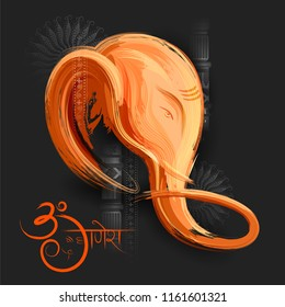 illustration of Lord Ganpati background for Ganesh Chaturthi with message in Hindi meaning Om Ganesha