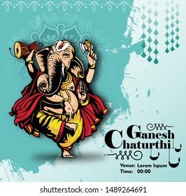 Illustration of Lord Ganpati background for Ganesh Chaturthi ,banner,poster-vector
