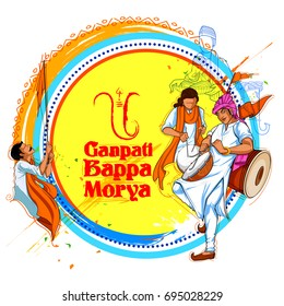 illustration of Lord Ganpati background for Ganesh Chaturthi with message meaning My Lord Ganesha