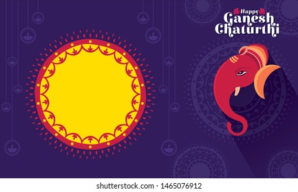 illustration of Lord Ganpati, Ganesh Chaturthi festival of india banner concept design
