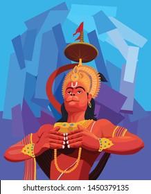 Illustration of Lord Hanuman, Indian god Hanuman ji