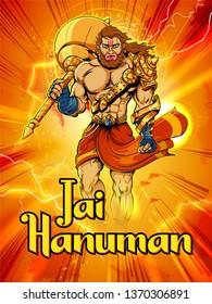 illustration of Lord Hanuman on abstract background for Hanuman Jayanti festival of India