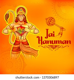 illustration of Lord Hanuman on abstract background for Hanuman Jayanti festival of India