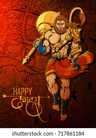 illustration of Lord Hanuman on Navratri festival of India with text in Hindi meaning Happy Dussehra