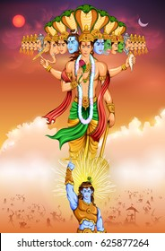 illustration of Lord Krishana showing Vishvarupa Darshan
