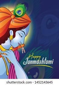 illustration of Lord Krishn in Happy Janmashtami festival