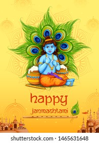 illustration of Lord Krishna eating makhan in Happy Janmashtami festival background of India