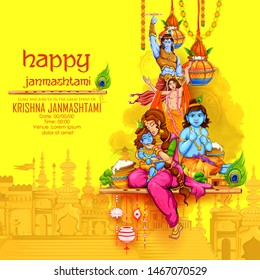 illustration of Lord Krishna eating makhan (cream) in Happy Janmashtami festival background of India