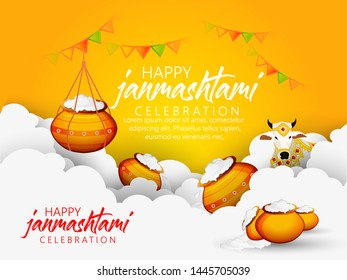 illustration of Lord Krishna in Happy Janmashtami festival of India