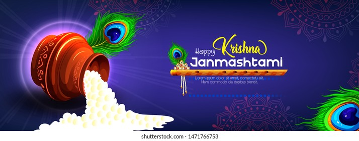 illustration of Lord Krishna in Happy Janmashtami festival background of India, baby krishna