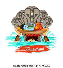 illustration of Lord Krishna in Happy Janmashtami festival background of India, baby krishna