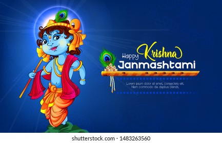 illustration of Lord Krishna in Happy Janmashtami festival background of India
