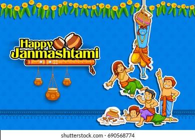illustration of Lord Krishna in Happy Janmashtami festival background of India