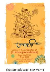 illustration of Lord Krishna with Hindi text meaning Happy Janmashtami festival background of India