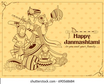 illustration of Lord Krishna with Hindi text meaning Happy Janmashtami festival background of India