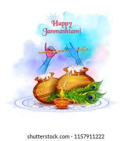 illustration of Lord Krishna playing bansuri (flute) in Happy Janmashtami festival background of India