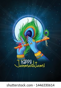 illustration of Lord Krishna playing bansuri Happy Janmashtami