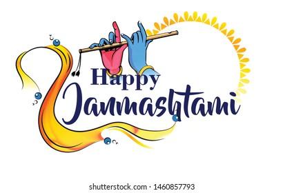 illustration of Lord Krishna playing bansuri (flute)  and celebrating dahi handi in Happy Janmashtami festival background of India