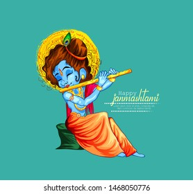 illustration of Lord Krishna playing bansuri,  dahi handi celebration in Happy Janmashtami festival of India