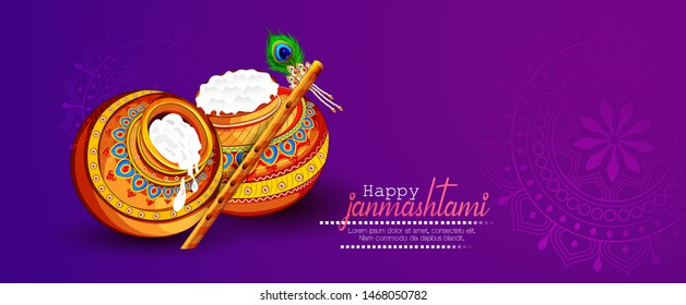 illustration of Lord Krishna playing bansuri,  dahi handi celebration in Happy Janmashtami festival of India
