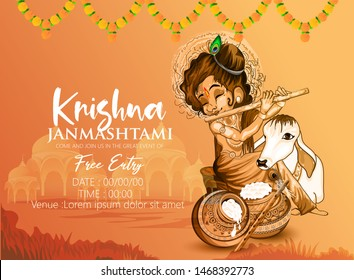 illustration of Lord Krishna playing bansuri in  Happy Janmashtami
