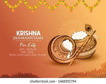 illustration of Lord Krishna playing bansuri in  Happy Janmashtami