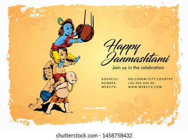 illustration of Lord Krishna playing dahi handi in Happy Janmashtami festival background of India