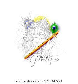 illustration of Lord Krishna with sketch pattern in Happy Janmashtami Indian festival,  background