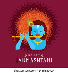 illustration of Lord Krishna(KANHA) with flute (bansuri) Happy Janmashtami festival of India - Vector