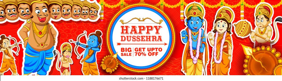illustration of Lord Ram, Sita, Laxmana, Hanuman and Ravana in Dussehra Navratri festival of India sale promotion ans advertisement poster