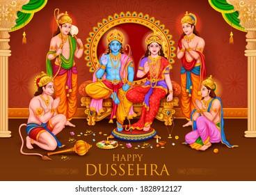 illustration of Lord Ram, Sita, Laxmana, Hanuman, Bharat and Shatrughna in Ram Darbar for Dussehra Navratri festival of India poster