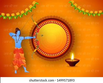 Illustration of Lord Rama aiming arrow with illuminated oil lamp (Diya) on Jay Shri Ram hindi text pattern orange background and given blank frame for your message.