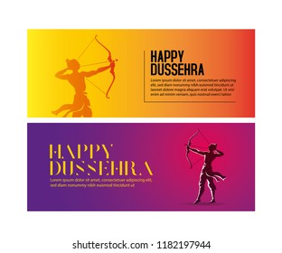 illustration of Lord Rama with arrow. Happy Dussehra Banners