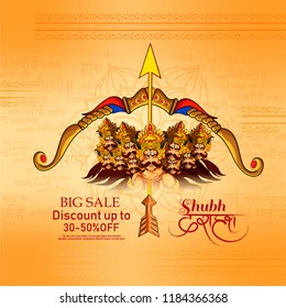 illustration of Lord Rama with arrow killing Ravana in Happy Dussehra, with hindi text of dussehra Sale celebration of Hindu Festival Vijayadashami