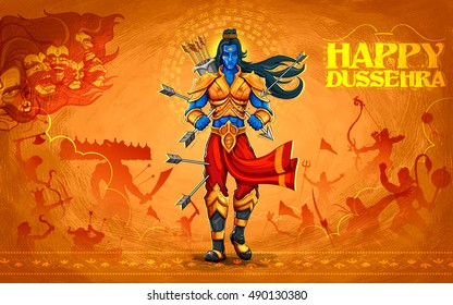 illustration of Lord Rama with arrow killing Ravana in Dussehra Navratri festival of India poster