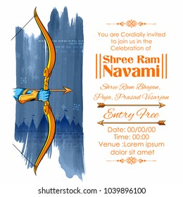 illustration of Lord Rama with bow arrow in Shree Ram Navami celebration background for religious holiday of India