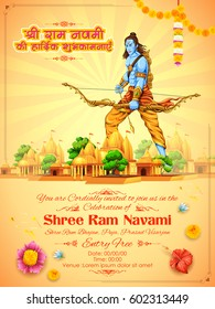 illustration of Lord Rama with bow arrow with hindi text Shri Ram Navami ki Hardik Shubhkamnaye meaning Heartiest wishes for Ram Navami