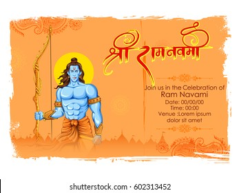 illustration of Lord Rama with bow arrow in Ram Navami