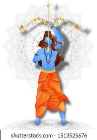 Illustration of Lord Rama holding bow arrow on mandala pattern background.