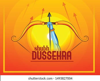 illustration of Lord Rama killing Ravana in Festival Happy Dussehra