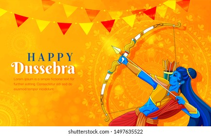 illustration of Lord Rama killing Ravana in Navratri festival of India poster for Happy Dussehra. Vector illustration