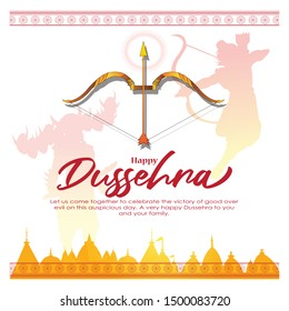 illustration of Lord Rama killing Ravana in Navratri festival of India greeting for Happy Dussehra on abstract background
