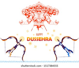 illustration of Lord Rama killing Ravana in Dussehra Navratri festival of India poster