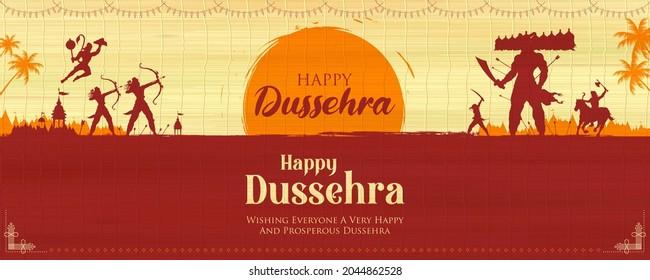 illustration of Lord Rama killing Ravana in Dussehra Navratri festival of India poster - Shutterstock ID 2044862528