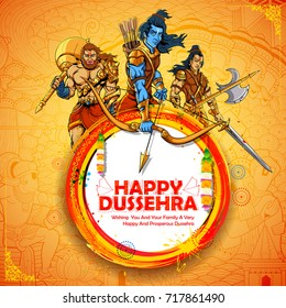 illustration of Lord Rama with Laxmana and Hanuman in Dussehra Navratri festival of India poster