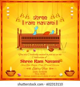 illustration of Lord Rama in Ram Navami background