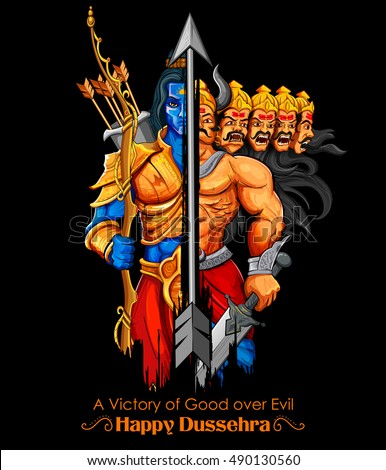 Illustration Of Lord Rama And Ravana In Dussehra Navratri Festival India Poster